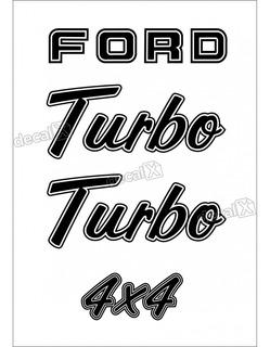 Kit Emblema Adesivo Ford F1000 Turbo 4x4 Em Preto F10001