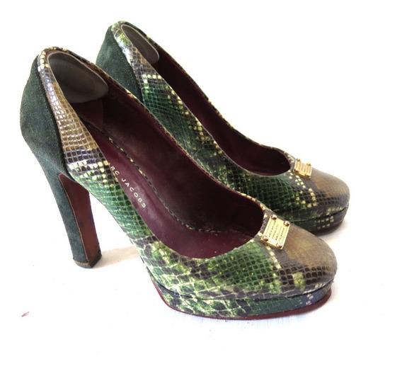 Zapatos Mujer Marc Jacobs Autenticos Cuero Croco Y Gamuza 38