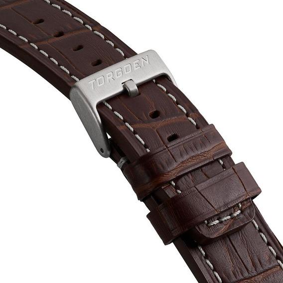 Pulseira Torgoen Luxo Em Couro Legítimo Para Relógios 22mm