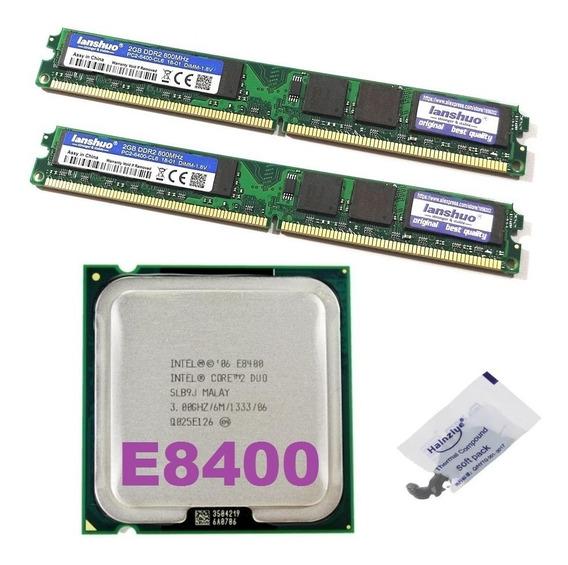 Processador Intel Core 2 Duo E8400 3 Ghz Fsb 1333 + 4gb Ddr2