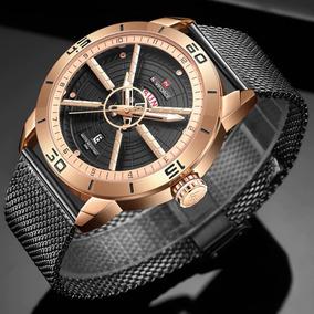 Relógio Masculino Top Esportivo Militar Rose Gold Black