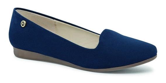 Zapato De Dama Color Azul Marino Textura De Ante