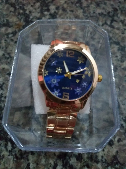 Relógio Feminino Quartz + Caixinha + Bateria Reserva