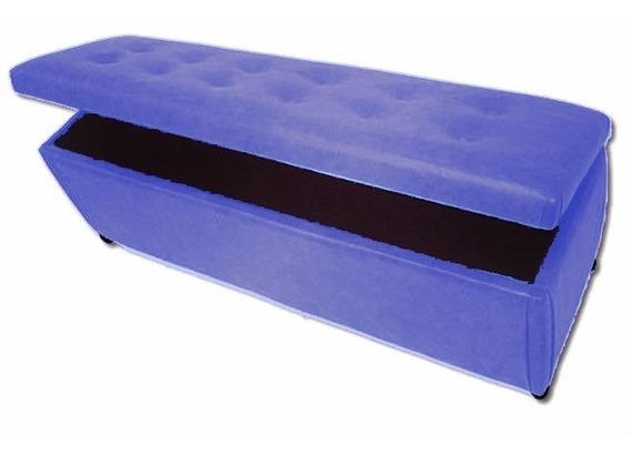 Puff Baú Retangular Quarto Cama Casal Capitonê Azul Claro