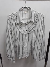 Camisa Manga Longa Anne Classic 46 Branca Listras Pretas