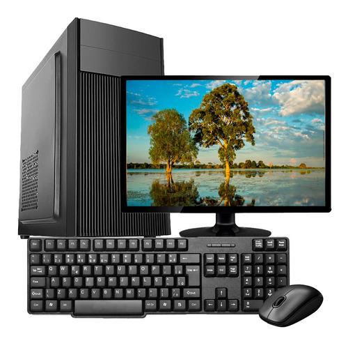 Imagem 1 de 5 de Pc Core 2 Duo 4gb Ssd 120gb Teclado Mouse E Monitor