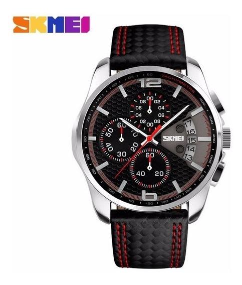 Reloj Skmei 9106 Cronografo Piel Vanguardia Hombre + Caja