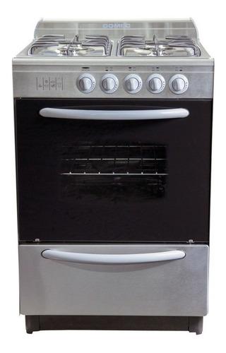 Cocina Domec CXUPV multigas 4 hornallas  plateada 220V puerta  con visor