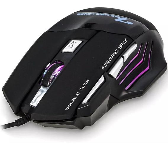 Mouse Gamer Laser X7 3200dpi Usb Led 7 Botões Profissional