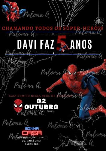 Imagem 1 de 1 de Convite Personalizado Homem-aranha Ou Tema De Escolha.