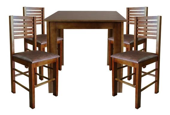 Conjunto Laguna Mesa 70x70 Com 4 Cadeiras Madeira P/ Cozinha