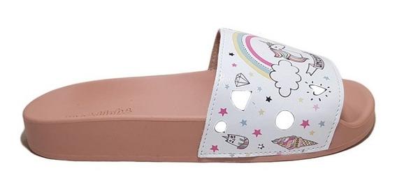 Chinela Molequinha Nena Unicornio Blanco/rosa Nº26/35