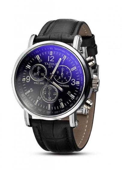 Relógio Masculino Yazole 271 Preto Pulseira Preta Quartzo