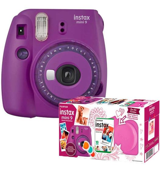 Máquina Fotográfica Instax Fujifilm Kit Mini 9 Filme E Bolsa