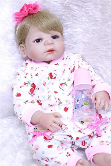 Bebê Reborn Loira Silicone Menina Loirinha Pronta Entrega