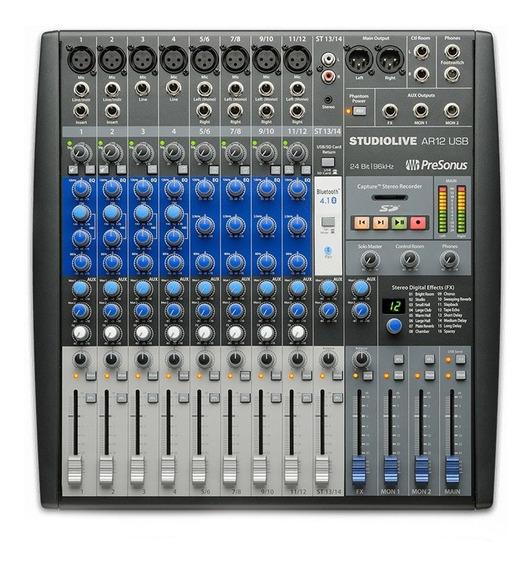 Mixer Analógico E Interface Presonus De Gravação Ar12