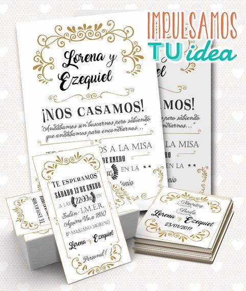 Invitación De Boda, Tarjetita Souvenir Y Personal Imprimible