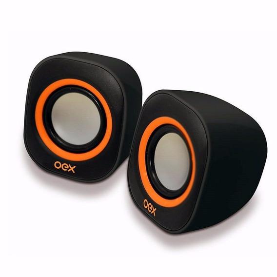 Caixa De Som Speaker Round 6 Wats Usb P2 Oex Sk100