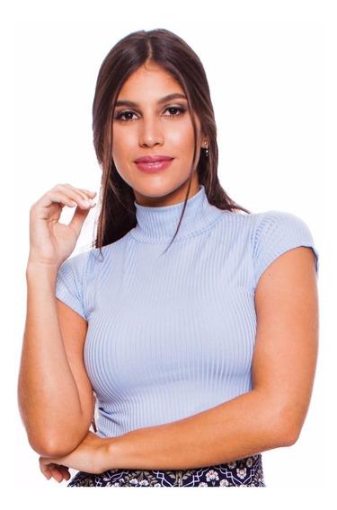 Blusa Canelada Feminina Cropped Azul