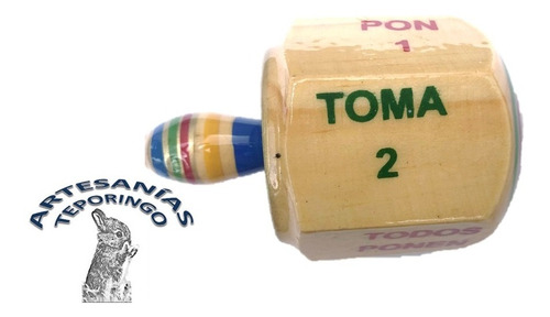 12 Piezas/artesanía Mexicana Pirinola De Madera