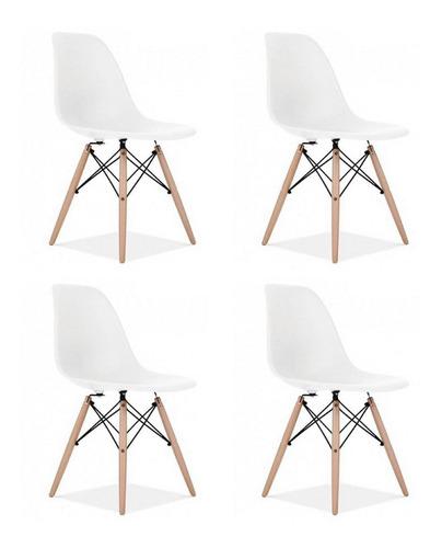 Set 4 Silla Tipo Eames De Comedor Modernas Colores