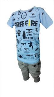 Sero Conjunto Para Niños De Remera Y Bermuda Free Fire