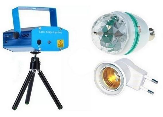 Projetor Holográfico 1000mw + Lâmpada Led Rotativa Rgb Strob