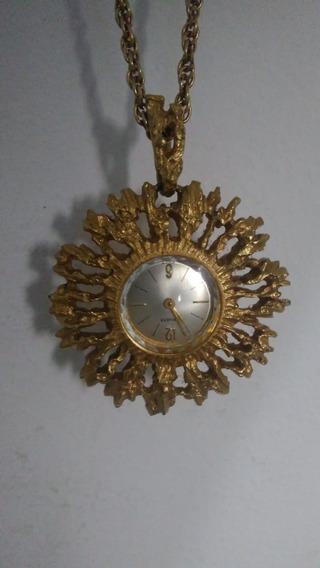 Pendente Relógio Swiss Ornate Gold - Antiguidade