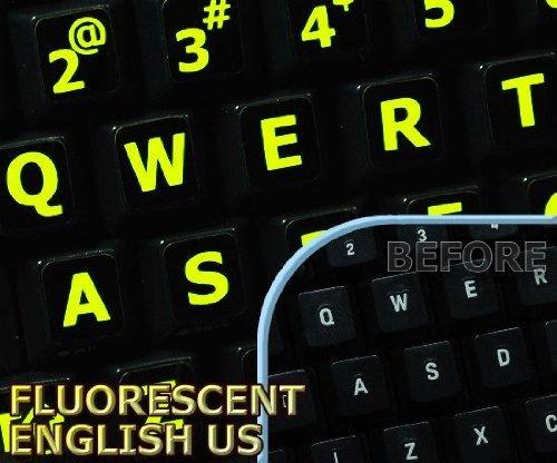 El Brillar Intensamente Fluorescente Letras Grandes Etiqueta