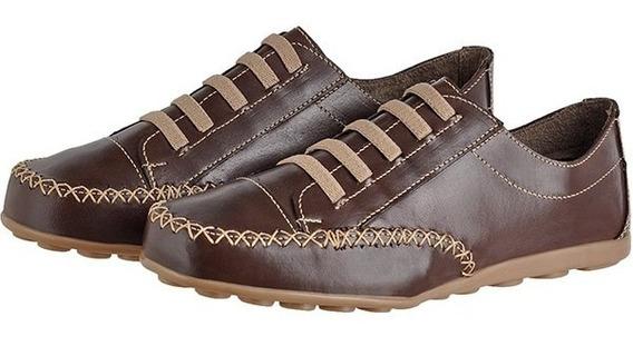 Sapatênis Feminino Tênis Sapato Casual Conforto 100% Couro