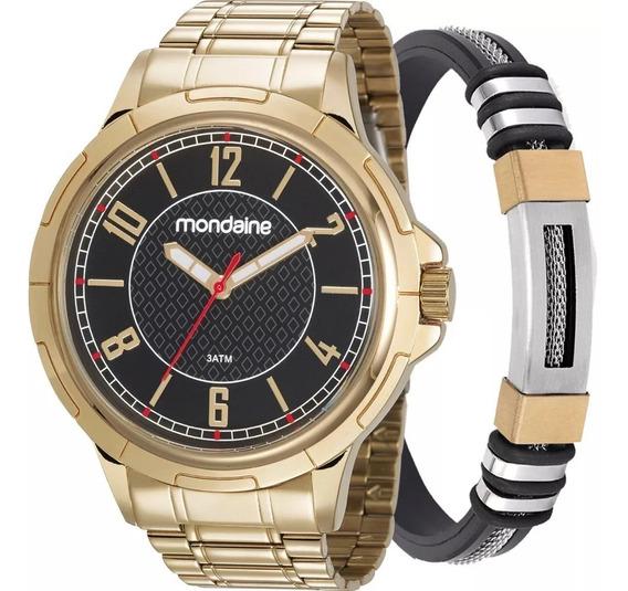 Relógio Mondaine Masculino Dourado 83440gpmvde2ka + Pulseira