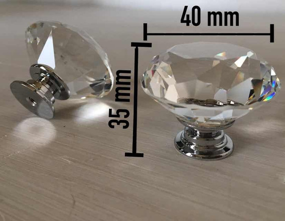 Perilla Jaladera D Cristal/corte Diamante/40x35mm/set 4 Pz