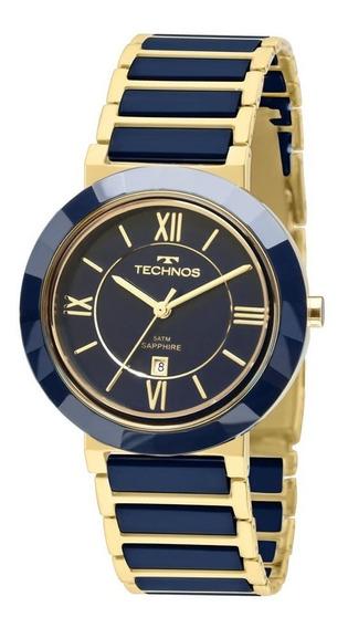 Relógio Fem Technos Cerâmica Azul Grande 2015bv/5a Original