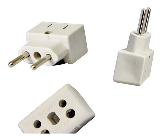 2 Adaptador Plug 10a 20a 250v Universal Pino Chato - Redondo