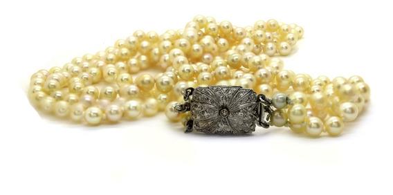Colar 3 Fios Perola 54cm 5,8mm Para Festa Gala Noiva Casamento Fecho Em Ouro Branco 18k Com Diamante Sem Juros J20019
