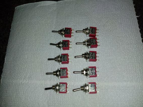 Kit 10 Mini Chave Toggle Spdt Short 3 Posições On Off On