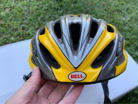 Capacete Bell Para Bicicleta Amarelo E Cinza