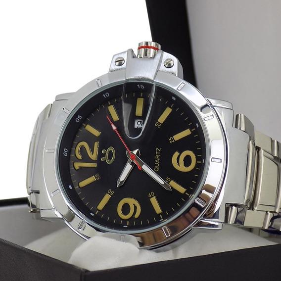 Relógio Masculino Pulseira Aço Prateado Moderno Em Oferta