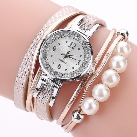 Relógio Feminino Pulseira 5 Pérolas Couro Promoção Barato