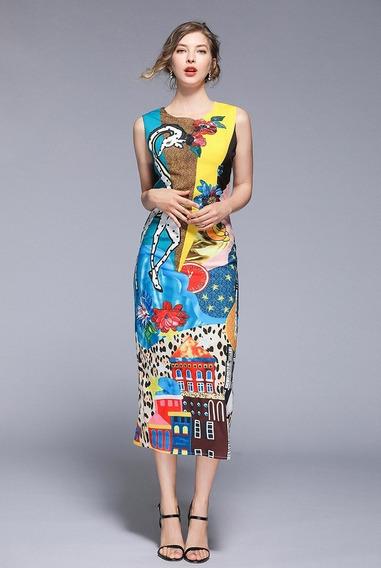 Vestido Feminino Midi Estampado Verão Luxo Roupas Femininas