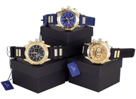 Kit 3 Relógios Masculino 100% Original Dourado Preto + Caixa
