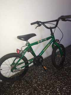 Bicicleta Niño Rodado 16, Color Verde Usada
