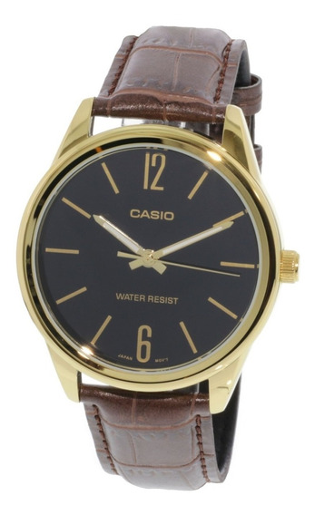 Relógio Casio Original Com Pulseira De Couro Vintage Dourado
