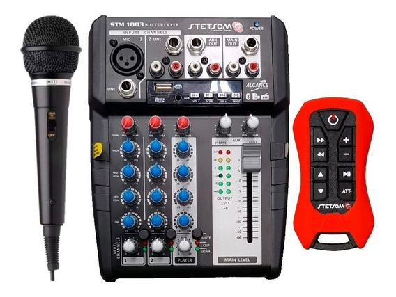 Mesa Stm1003 3canais Bt Sd Fm Auxiliar Controle + Microfone