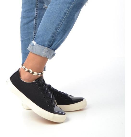 Zapatillas Urbanas Mujer Lona Y Eco Cuero