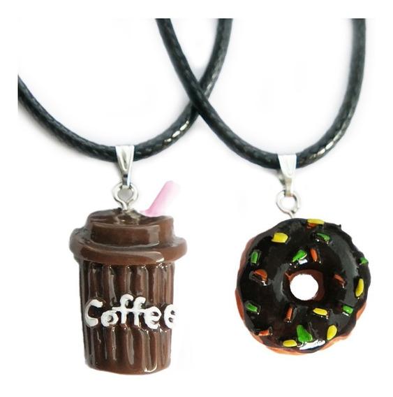 Collar Dona Y Café Para Novios Pareja Amigos Amistad Kawaii