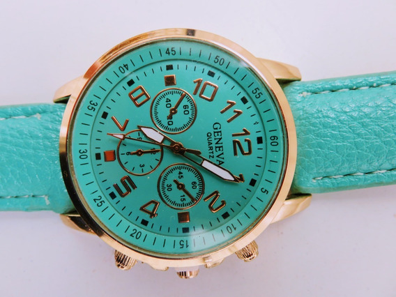 Relógio De Pulso Geneva Quartz Turquesa