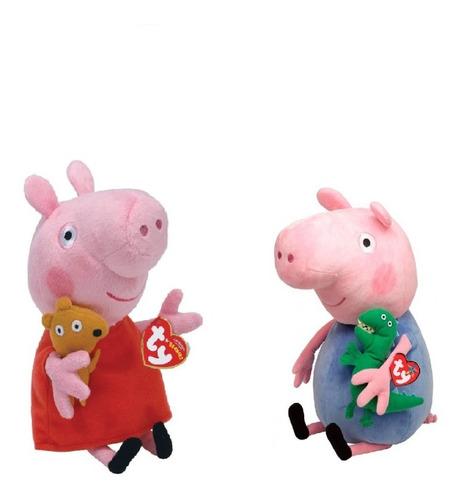 Imagem 1 de 6 de Kit 2 Pelúcias Peppa Pig George Tradicional Peq. 20cm Ty Dtc