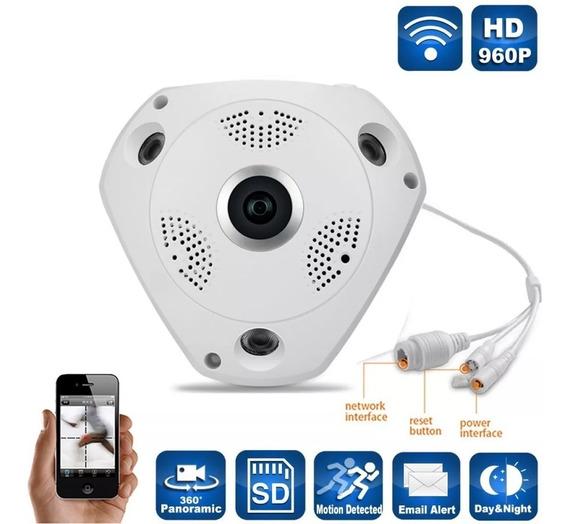 Camara Ip Wifi Inalambrica Seguridad Vr 360 Panoramica Hd $