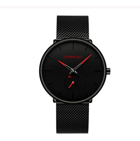 Relógio Unissex Fino Aço Inoxidável Preto Vermelho Promoção